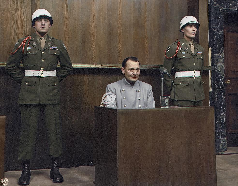 Hermann Göring sits in the dock at the Nuremberg trial, 1946.