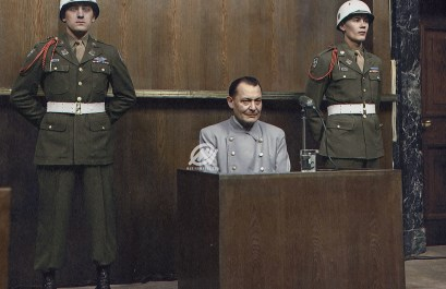 Hermann Göring sits in the dock at the Nuremberg trial, 1946.