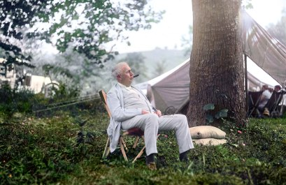 "Thomas Edison Relaxing on a ""Vagabonds"" Camping Trip, 1921."