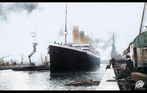 Titanic prepares to leave port, 1912