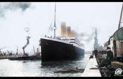 Titanic prepares to leave port, 1912
