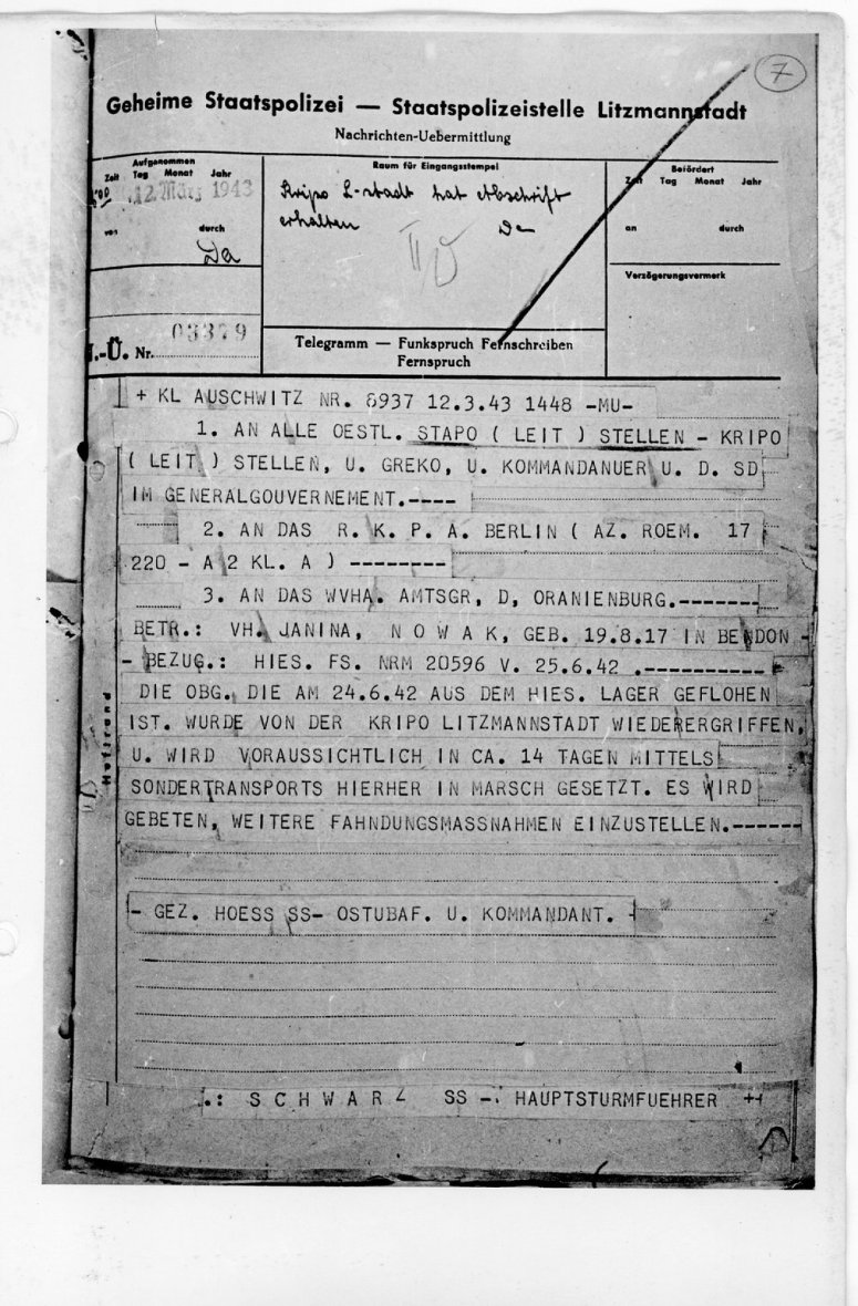 Telegram dated March 12 1943 informing about Janina's arrest.