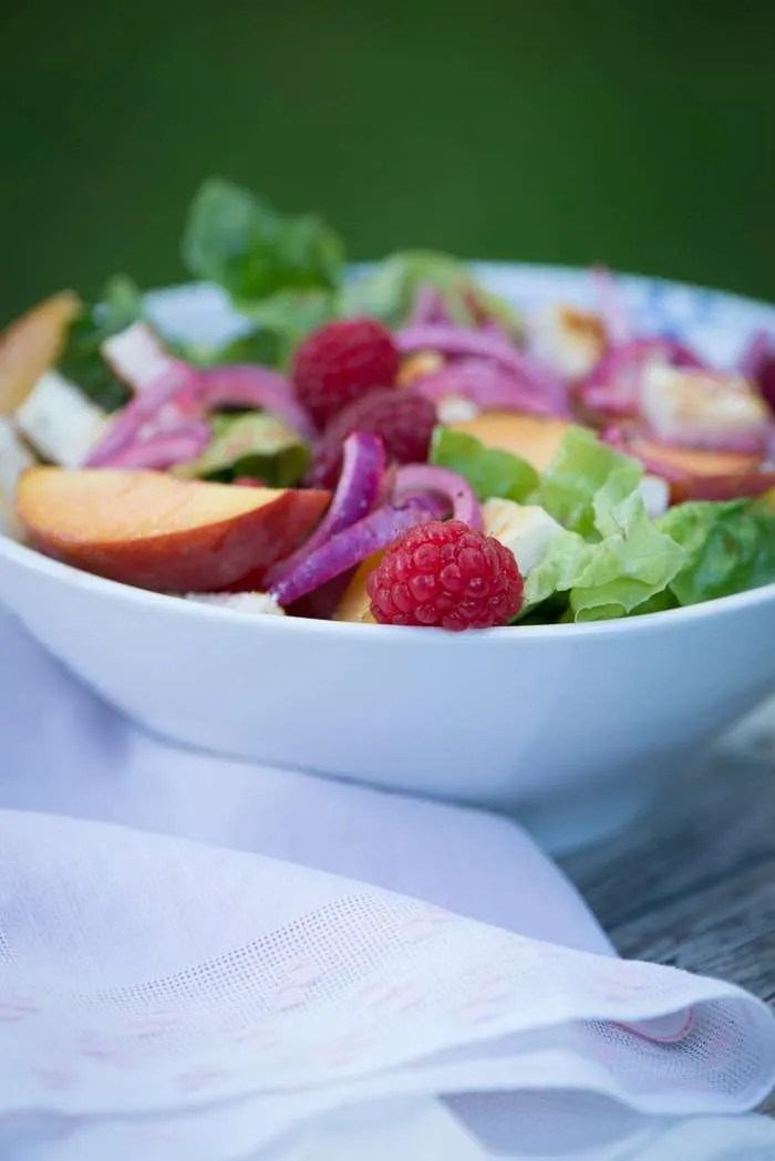 Peach melba salat. lækker sommer salat
