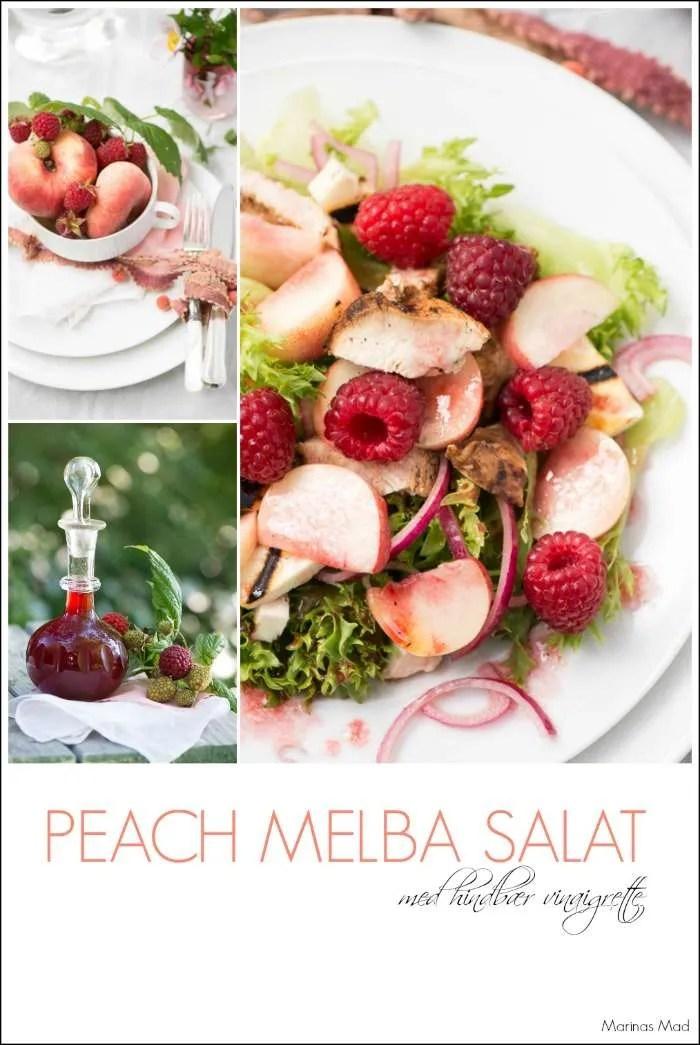 Peach melba salat med hindbær vinagrette