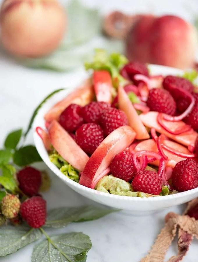 Opskrift på peach melba salat