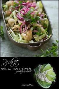 Bagt blomkål i spidskåls salat