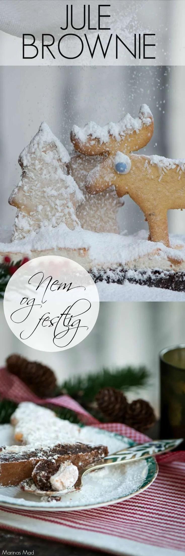 Opskrift på julebrownie pyntet som snelandskab med udstiks kager. Perfekt på julebordet eller til sammenskudsgildet. Den lækre chokolade kage er nem at bage, men ser fantastisk ud. Opskrift fra Marinas Mad.