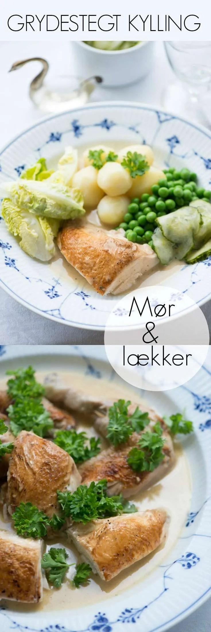 Skøn og helt klassisk opskrift på grydestegt kylling med skilt sovs og persille i maven. Sommer aftensmad når det er dejligst i Danmark.
