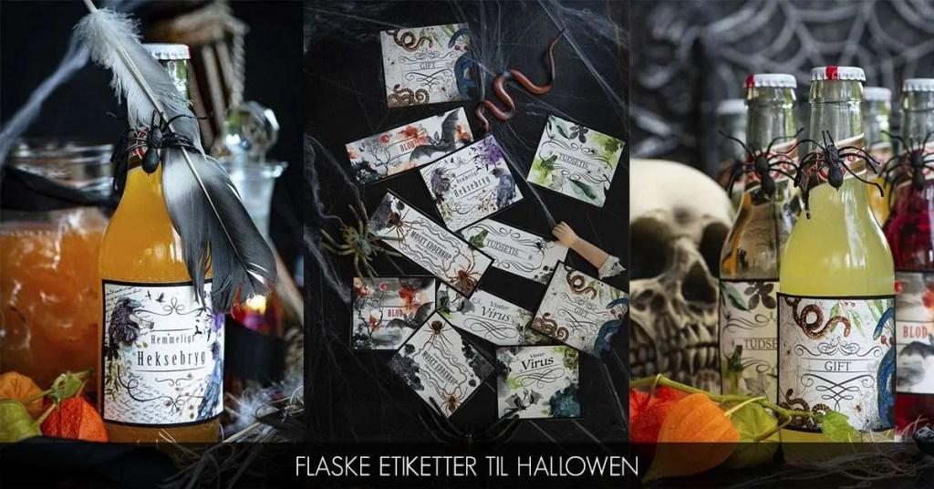 Udskriv gratis flaske mærkater til Halloween