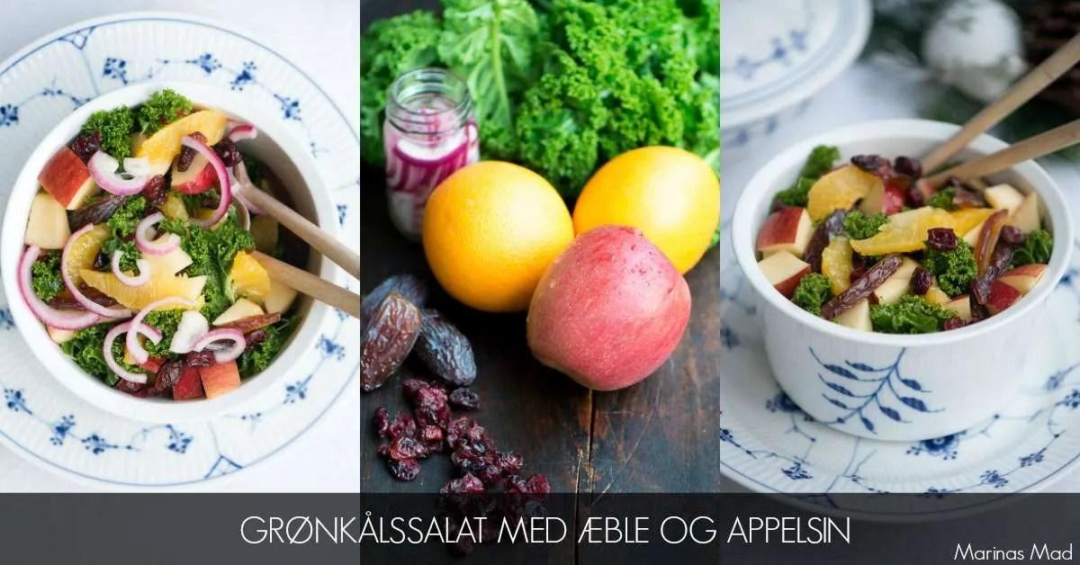 Salat med grønkål, æble og appelsin