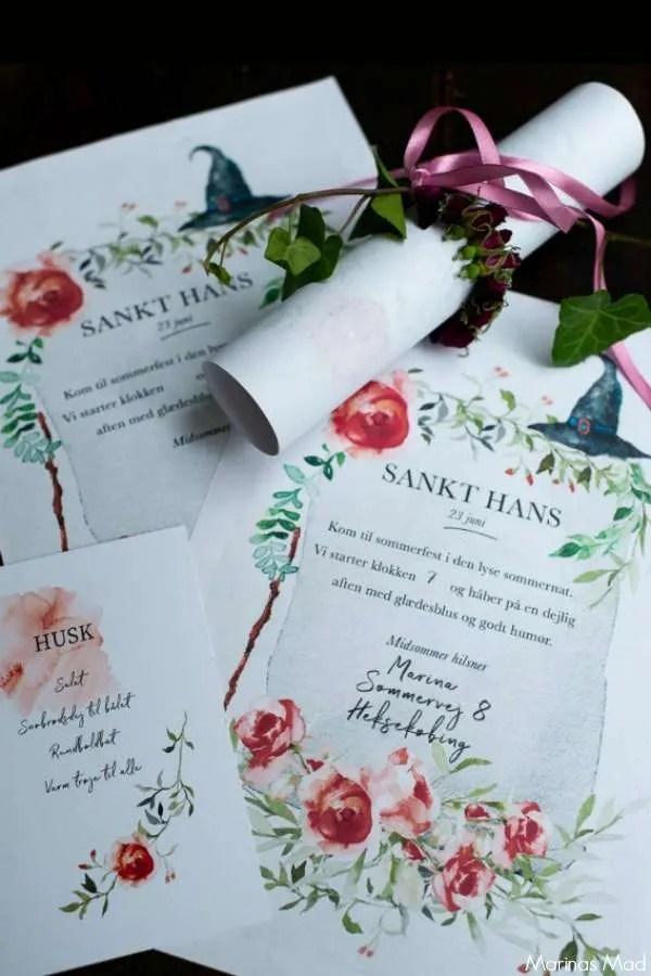 Print en gratis invitation til Sankt Hans aften. Invitationen er illustreret med romatiske roser fordi den allerbedste Sankt Hans aften er den uformelle hyggelige havefest. Gratis print fra Marinas Mad