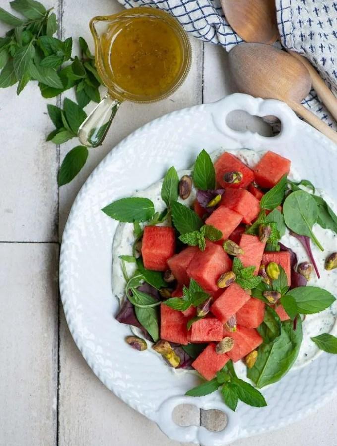 Salat med vandmelon, feta og mynte. En opskrift fra Marinas Mad