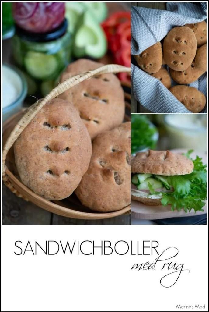 Hjemmebagte sandwichboller med rug