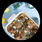 Kyllingelår i ovn med citron rosmarin og hvidløg