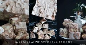 Fransk nougat med nødder og chokolade