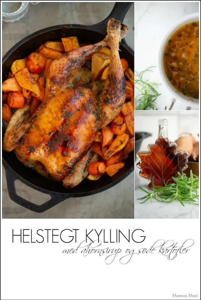Sådan laver du helstegt kylling med søde kartofler