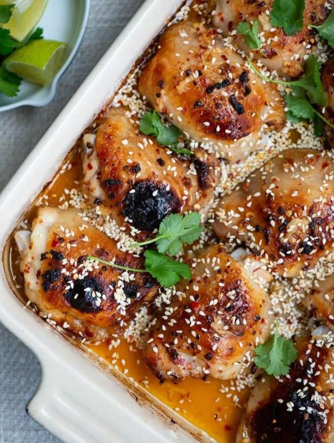 Opskrift på kyllingelår med chili, lime og honning