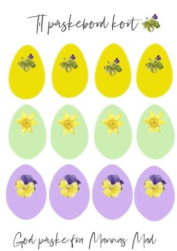 Her kan du udskrive æggene til toppen af bordkortet