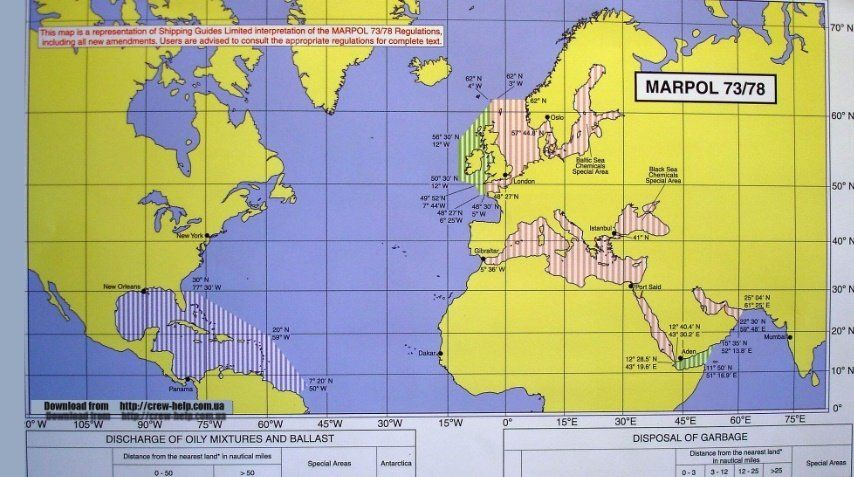 Free Map with marked special areas MARPOL 73/78