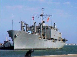 My last big ship, USNS San Jose T-AFS 7, pulling into Bahrain, U.A.E.
