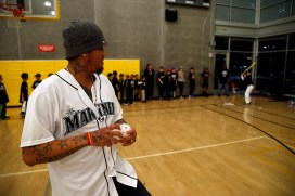 Mariners All-Star Felix Hernandez winds up to pitch a Wiffle® Ball at the Rainier Vista Boys & Girls Club.