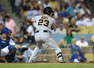 LOS ANGELES, CA - SEPTEMBER 01: Pinch hitter Nori Aoki #23 of the San Francisco Giants bats against the Los Angeles Dodgers in the eighth inning at Dodger Stadium on September 1, 2015 in Los Angeles, California (Photo by Stephen Dunn/Getty Images)