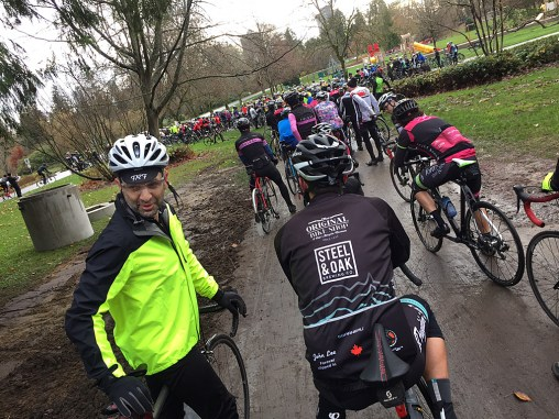 Cyclists from around Metro Vancouver gather in Stanley Park to remember a fallen roadie before heading out on a slow loop through the park.