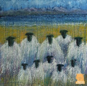 Grazing Committee sheep painting by Marion Boddy-Evans