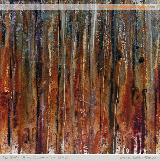 Forest Study in Quinacridone Gold II by Scottish Artist Marion Boddy-Evans