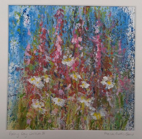 Rainy Day Daisies painting by Skye artist Marion Boddy-Evans