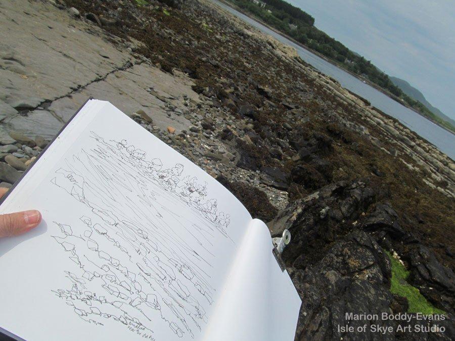 Sketching at Broadford Isle of Skye Low Tide