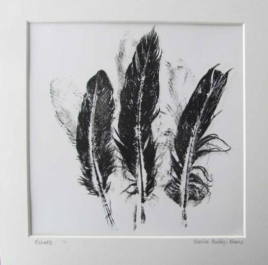 Feather Monoprints: Echoes