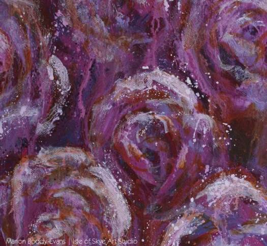Detail from roses painting by Marion Boddy-Evans