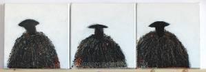 Sheep Paintings: 3 Black Sheep by Marion Boddy-Evans Isle of Skye Scotland Artist
