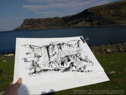 Ink Sketching at Talisker Bay Isle of Skye