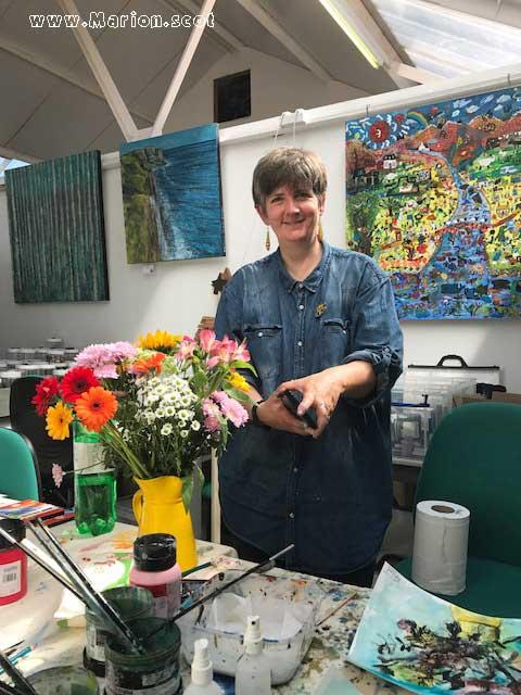 Marion Boddy-Evans photo taken in mixed media workshop at Skyeworks Gallery