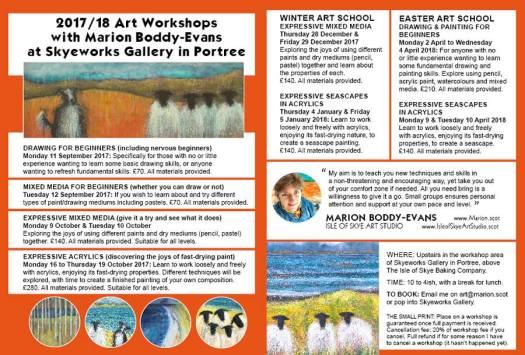 art workshops 2017 2018 Isle of Skye