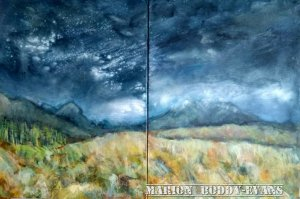 Snow Showers over the Cuillan painting by Skye artist Marion Boddy-Evans