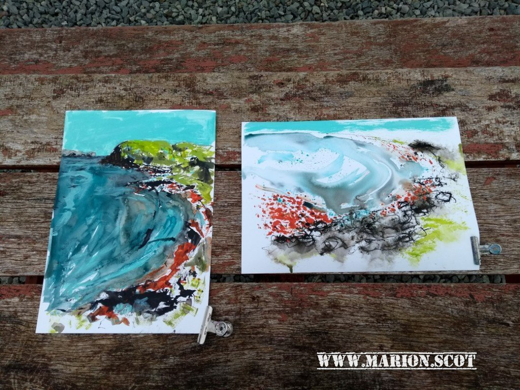 Two Ink Seascapes One Successful and One Not