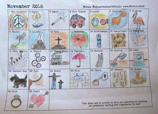Word Prompt Drawings November
