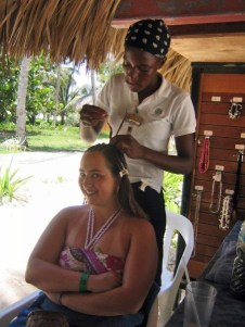 Robyn getting her hair done