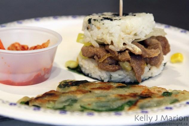 Kobob Bulgogi Rice Burger with Korean Pancake