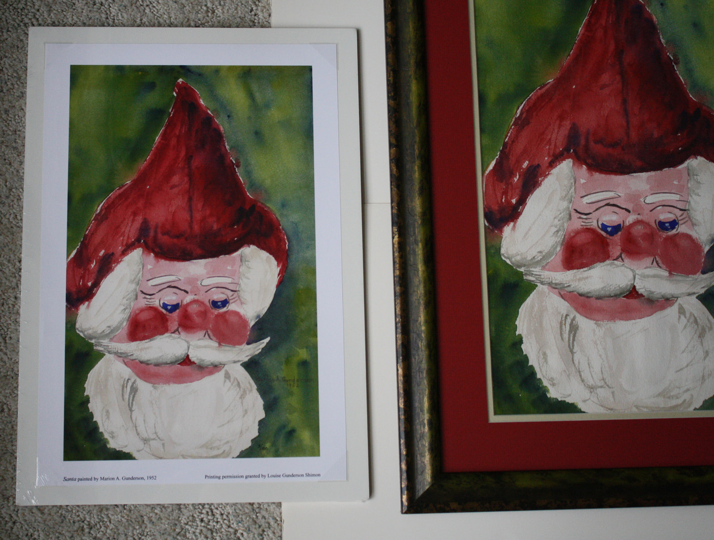 """Left: Santa limited edition size 10"""" W x 16.1"""" H print $__..  Smaller prints size 6.5"""" W x 10.5"""" H are also available, $__.  Right:  Santa original. Click photo to enlarge."""