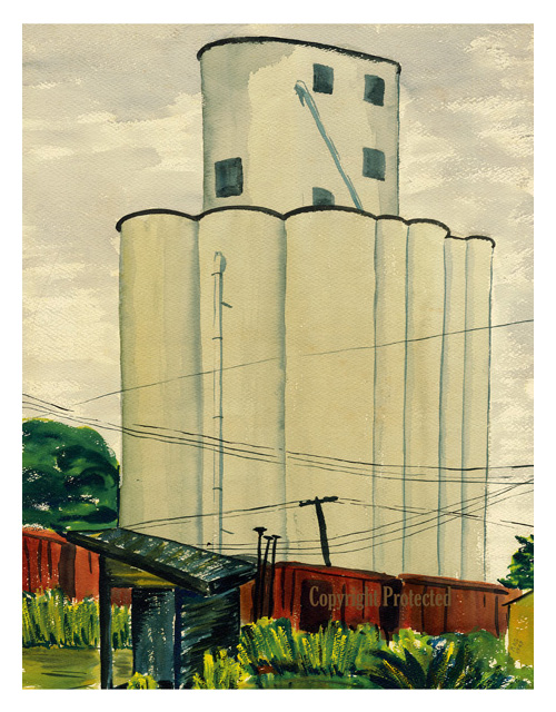 """Pocahontas Grain Elevator I Limited Edition prints are available in the original painting size of 13.25"""" W x 17.25"""" H, $35.  Click on photo to enlarge."""