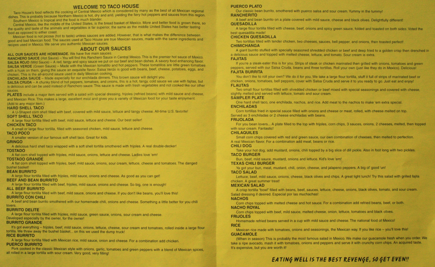 Taco house menu items.  (Click photo to enlarge, and again to enlarge even more.)