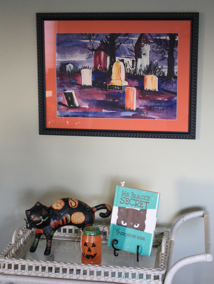 """""""Church Yard"""" displayed with Mr. Black's Secret by Cathrine Barr. (Click photo to enlarge.)"""