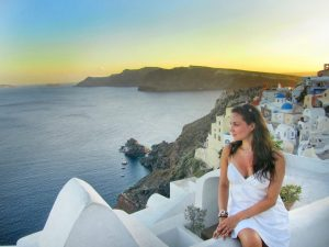 Travel Blogger in Santorini, Greece