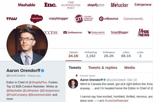 Screenshot of Aaron Orendorff Twitter Page