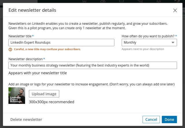 LinkedIn interface for Newsletters