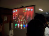 Frets On Fire played on the DudesConf projector